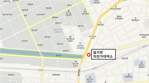 평리교 동편 달서천 복개도로(달서천로 200)를 안내하는 지도