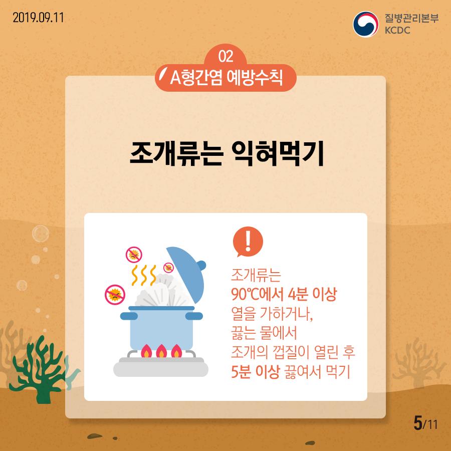 02 A형간염 예방수칙 조개 조개류는 익혀먹기 / 조개류는 90°C에서 4분 이상 열을 가하거나, 끓는 물에서 조개의 껍질이 열린 후 5분 이상 끓여서 먹기